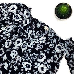 LOFT Off the Shoulder Floral Print Blouse